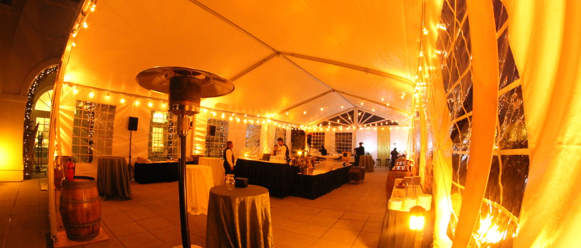 Fastrack 30x60 tent inside for a christmas party at nigtht