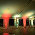 LED mood lighting in tent red and white light