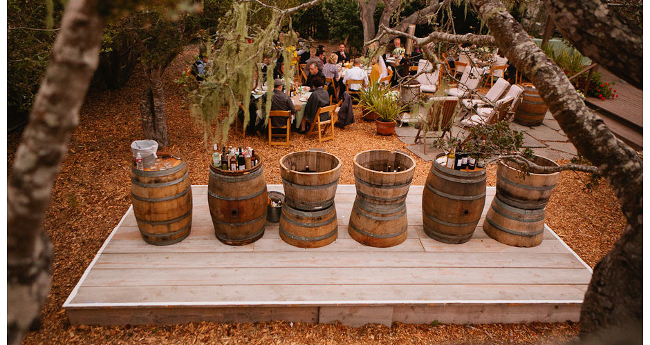 Wine barrel serving stations and beverage coolers